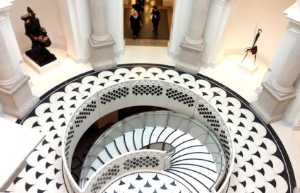 Rotunda staircase in the newly-refurbished main entrance to Tate Britain, Millbank. Image courtesy The Telegraph.