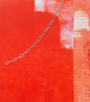 Monika Baer, 'rote Wand (4)', 2012, oil on canvas, in 'Focus: Monika Baer', at Chicago Art Institute. Image courtesy Chicago Art Institute.