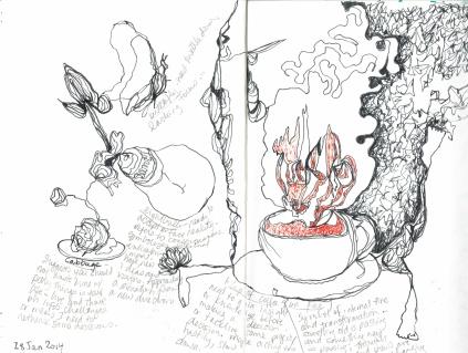 Kelise Franclemont, sketchbook doodles while having Monmouth coffee, 2014, ink on paper. Image courtesy Kelise Franclemont.
