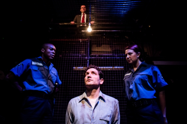 (clockwise from top), John Wark, Laura Prior, Cornelius McCarthy, Edmund Kingsley in 'The Keepers of Infinite Space' at Park Theatre, London. Photo credit Richard Davenport.
