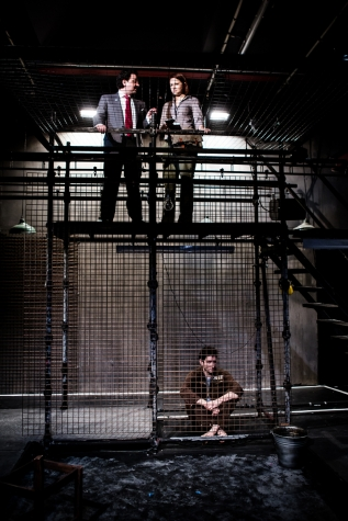 (l-r) John Wark, Laura Prior, bottom, Edmund Kingsley in 'The Keepers of Infinite Space' at Park Theatre, London. Photo credit Richard Davenport.