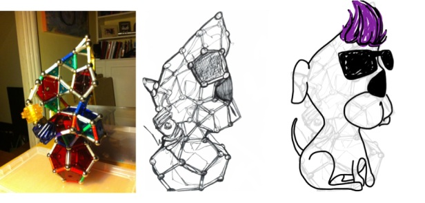 Kelise Franclemont, showing progression from Geomag sculpture to an illustration in which I saw a 'Cool as Jazz Dog' in my first drawing of the sculpture, 2014, digital media. Image courtesy the artist.