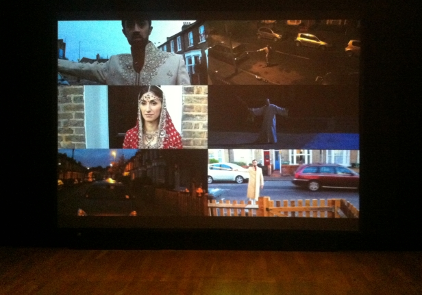 Hetain Patel, 'The First Dance', 2012, video 7:57, in 'At Home' at Pumphouse Gallery, London. Photo credit Kelise Franclemont.