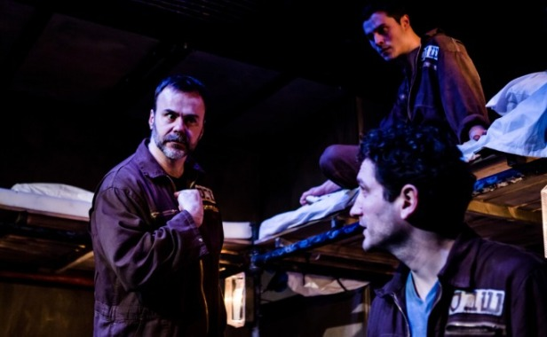 (l-r) Patrick Toomey, Philip Correia, Edmund Kingsley in 'The Keepers of Infinite Space' at Park Theatre, London. Photo credit Richard Davenport.