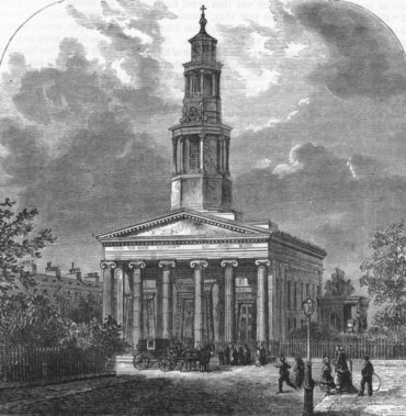 St Pancras Church, Somers Town, Euston Square, 1880. Image courtesy antiquaprintgallery.com