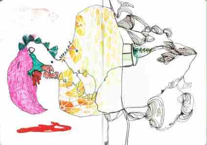 Kelise Franclemont, 'weird bird', 2014, collage and ink on paper. Image courtesy Kelise Franclemont.
