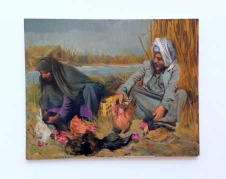 Bassim al-Shaker, 'Marshes 3', 2013, oil on canvas, in 'Welcome to Iraq' at South London Gallery, London. Photo credit Kelise Franclemont.