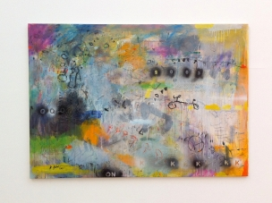 Kadhim Nwir, untitled, 2011, acrylic on canvas, in 'Welcome to Iraq' at South London Gallery, London. Photo credit Kelise Franclemont.