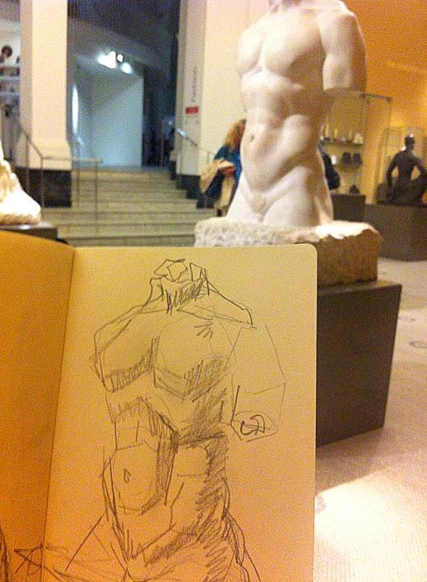 Kelise Franclemont, drawing at the V&A with sketch of Ivan Meštrović's 'heroic torso 1908', 2014, graphite on paper