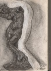 Kelise Franclemont, study of Rodin's 'Inner Voice (the Muse', 2010, charcoal on paper.