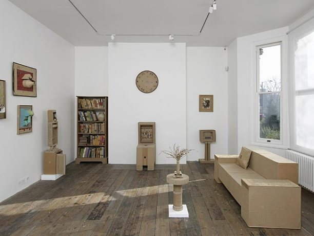 WAMI (Yaseen Wami, Hashim Taeeh), untitled (various works), 2013, cardboard and mixed media, in 'Welcome to Iraq' at South London Gallery, London. Image courtesy South London Gallery.