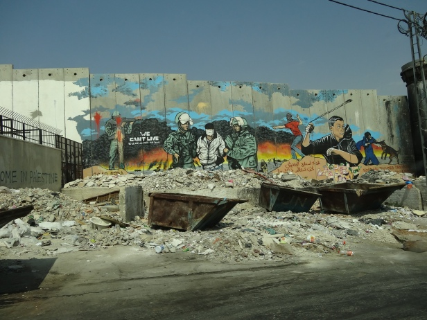 The wall adjacent to Aida refugee camp situated near Bethlehem. Photo credit Tom Butler.