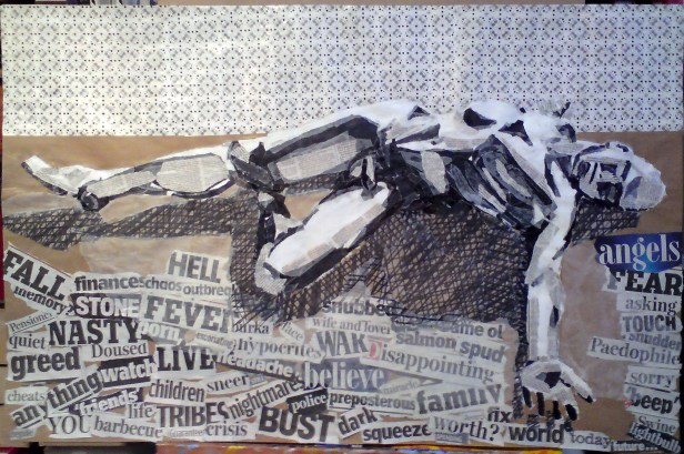 This collage was a result of a sketch from life drawing class in 2009. Image courtesy Kelise Franclemont.