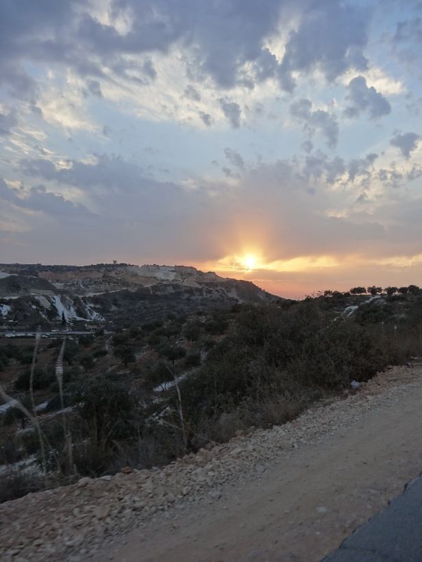 Sunset over Jenin, West Bank, Palestine.