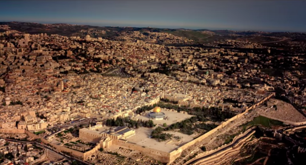 Aerial view of Dome of the Rock/Haram al-Sharif, Jerusalem in 'Jerusalem 3-D', 2013, documentary film, 40 mins. Image courtesy National Geographic.