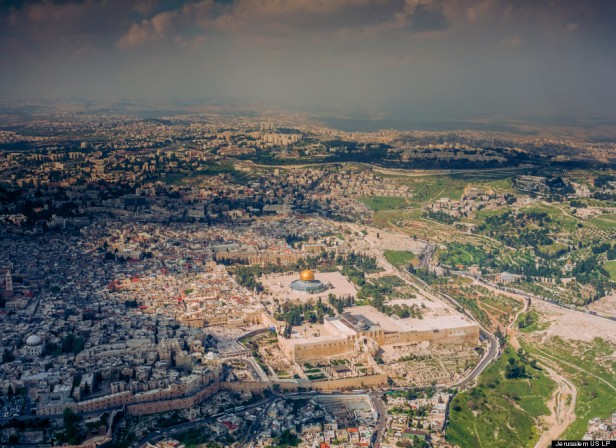 Aerial view of Dome of the Rock/Haram al-Sharif, Jerusalem in 'Jerusalem 3-D', 2013, documentary film, 45 mins. Image courtesy National Geographic and The Huffington Post. Photo credit unknown.