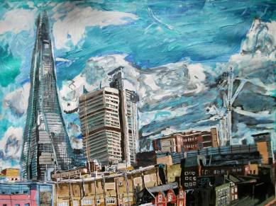 Oliver Yu Chan, 'Shard from the art studio in Borough High St', 2014, acrylic on canvas. Image courtesy the artist.