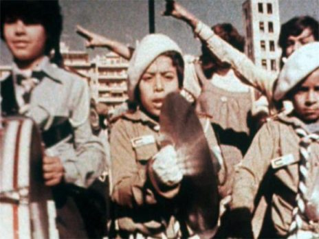 Film still from 'The Fifth War', 1980, by Palestinian Cinema Institution, in the 'The World is with us' at Barbican Centre, London. Image courtesy http://theworldiswithus.org/