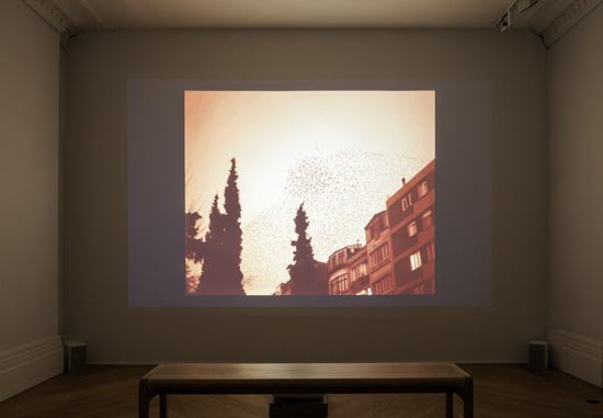 Halida Boughriet, installation view, 'Transit', 2011, HD video duration 07:50, in 'My Sister Who Travels' at Mosaic Rooms, London. Image courtesy the artist.