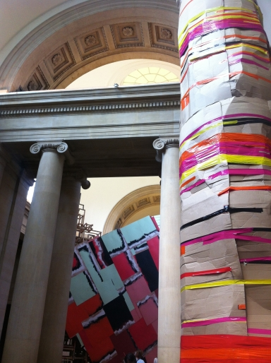Phyllida Barlow, 'dock: crushed tower', 2014, installation, wood, acrylic and other items, in 'Tate Commission 2014' at Tate Britain, London. Photo credit Kelise Franclemont.