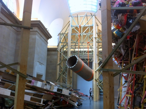 Phyllida Barlow, 'dock', 2014, installation, wood, acrylic and other items, in 'Tate Commission 2014' at Tate Britain, London. Photo credit Kelise Franclemont.
