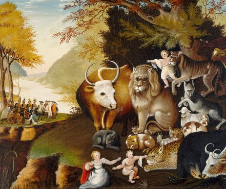 Edward Hicks, 'The Peaceable Kingdom', 1840-44, oil on wood panel, at Everson Museum of Art, Syracuse, NY. Image courtesy Wikimedia