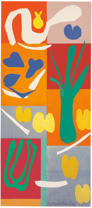 Henri Matisse, 'Vegetables', 1952, in 'Henri Matisse: Cut-outs' at Tate Modern, London. Image courtesy The Independent (online).