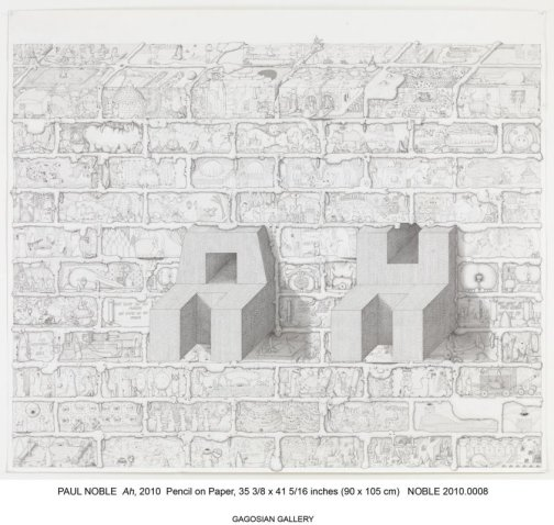 Paul Noble, 'Ah', 2010, pencil on paper in 'Welcome to Nobson', at Gagosian Gallery, London. Image courtesy www.pbart.com