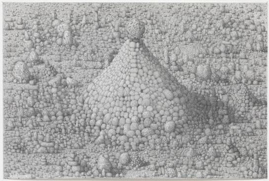 Paul Noble, 'Cathedral', 2011, pencil on paper in 'Welcome to Nobson', at Gagosian Gallery, London. Image courtesy afasiaarq.blogspot.com