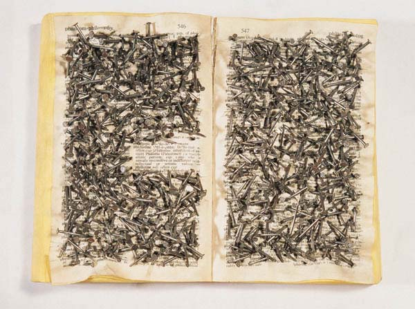 Khalil Rabah, 'Dictionary Work', 1997, Oxford dictionary and nails. Image courtesy contemporaryarabart.tumblr.com