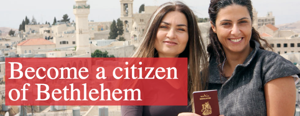 Leila Sansour (left), founder of the 'Open Bethlehem Campaign' and director of film 'Open Bethlehem' with one of the first Bethlehem Passport holders, a native and citizen of Bethlehem.
