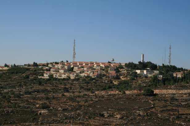 Settlements overlooking a Palestinian village near Ramallah. Image courtesy http://ghth.wordpress.com/