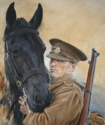 Sarah Clegg, 'Duty Bound - 1914', oil on canvas in 'The Horse in Art' at Mall Galleries, London. Image courtesy the artist and http://www.equestrianartists.co.uk
