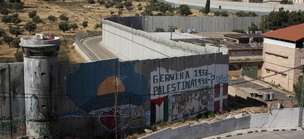 View of the Wall that surrounds Bethlehem, West Bank, Palestine. Image courtesy PalestineCampaign.org