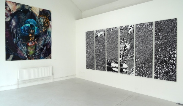 (l-r) Jon Baker, untitled, 2014, and Jane Saotome, 'The Trapped Sea', 2014, in 'Assembly' at Chelsea College of Arts, London.