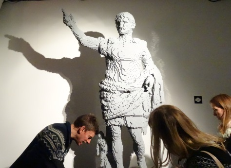 Nathan Sawaya, LEGO model of Julius Caesar, date unknown, LEGO bricks, in 'Art of the Brick' at Truman Brewery, London. Photo credit Kelise Franclemont.