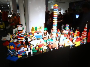View of gift-shop and 'create your own sculptures' area, in 'Art of the Brick' at Truman Brewery, London. Photo credit Kelise Franclemont.