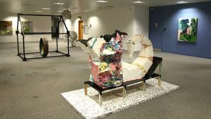 Installation view of 'Office Party' in 'Office Sessions III' at Anchorage House, East India docks, London. Photo credit Louise Wheeler.