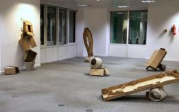 Work by Nick Cheesman. Installation view of 'Office Party' in 'Office Sessions III' at Anchorage House, East India docks, London. Photo credit Louise Wheeler.