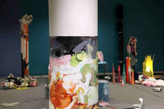 Work by Rebecca Molloy, installation view of 'Office Party' in 'Office Sessions III' at Anchorage House, East India docks, London. Photo credit Louise Wheeler.
