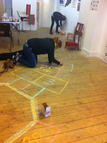 Jeannette Abi Khalil & Monika Tobelin draw 'Hopscotch' in 'The Anti-Gallery Gallery Show' at Espacio Gallery, Bethnal Green, London.