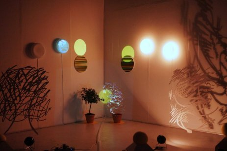 Jinjoo Kim, 'Yellow Spheres and Trees', 2014, video and installation in MA Fine Art Summer Show, Chelsea College of Arts, London. Image courtesy the artist.