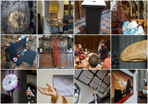 12 artists in 'Collaborationem', 2014, St Saviour's Church, Pimlico. Image courtesy the artists and Kelise Franclemont.