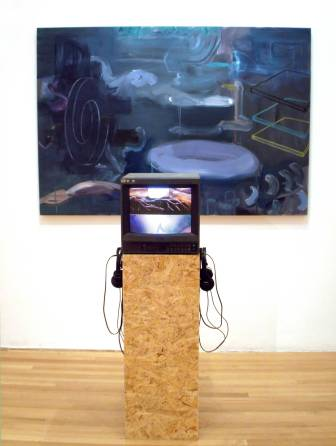 Verity Birt, 'Backward Looking Future', 2014, mixed media installation, digital and analogue looped excerpt 'The Land Before Time 1988', audio 'One herd had only a single baby, the last hope for the Future'. Image courtesy the artist.