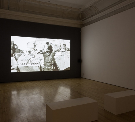 Dor Guez, installation view, 'The Painter', 2015, colour video and sound, 20:00, in 'The Sick Man of Europe' at the ICA, London. Image courtesy the artist and the ICA.