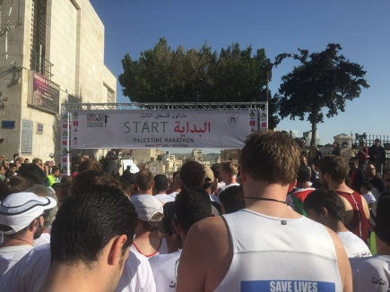 The starting line, the Palestine Marathon 2015, Bethlehem, Palestine (Occupied Territories). Photo credit Kelise Franclemont.