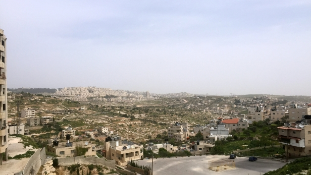 View of Bethlehem and settlement of Homat Schmuel (centre left), Palestine Marathon 2015, Bethlehem, Palestine (Occupied Territories). Photo credit Kelise Franclemont.