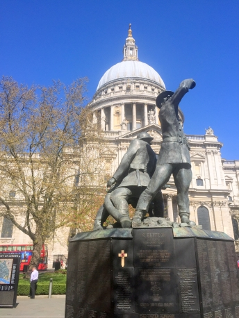 Monument to the firefighters of WWII, adjacent to St. Paul's Cathedral, London. Photo credit Kelise Franclemont.
