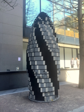 Unknown artist, a model of the Gherkin building made of LEGO(c). Photo credit Kelise Franclemont.