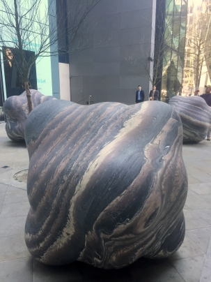 Peter Randall-Page, 'Shapes in the Clouds I; IV; V', marble, in 'Sculpture in the City 2014', London. Photo credit Kelise Franclemont.